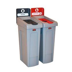 Rubbermaid Slim Jim Recyclingstation 2-stroom NL deksel gesloten (grijs)/flessen (rood) -  grijs -  grijs -  rood