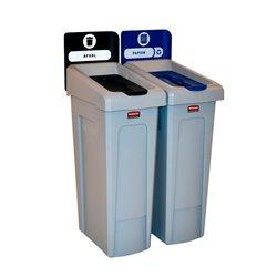 Rubbermaid Slim Jim Recyclingstation 2-stroom NL deksel gesloten (zwart)/papier (blauw) -  grijs -  zwart -  blauw