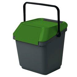 Stapelbare afvalbak Easymax 35 ltr grijs - groen