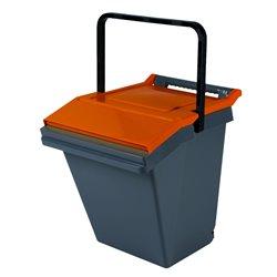 Stapelbare afvalbak Easytech 40 ltr - grijs/oranje