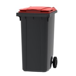 Mini-container 240 ltr grijs - rood