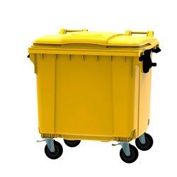 Afvalcontainer 1100 ltr vlak deksel - geel