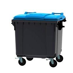 Afvalcontainer 1100 ltr vlak deksel - grijs/blauw
