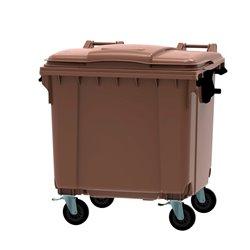 Afvalcontainer 1100 ltr vlak deksel - bruin