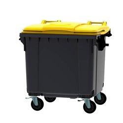 Afvalcontainer 1100 ltr vlak deksel - grijs/geel
