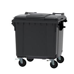 Afvalcontainer 1100 ltr vlak deksel - grijs