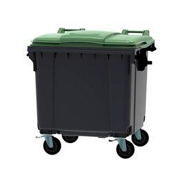 Afvalcontainer 1100 ltr vlak deksel - grijs/groen