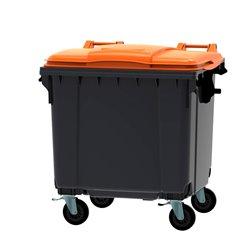 Afvalcontainer 1100 ltr vlak deksel - grijs/oranje