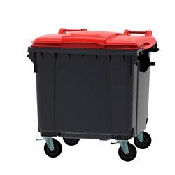 Afvalcontainer 1100 ltr vlak deksel - grijs/rood