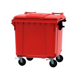Afvalcontainer 1100 ltr vlak deksel - rood
