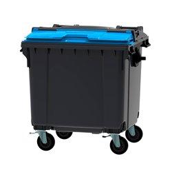 Afvalcontainer 1100 ltr split deksel - grijs/blauw