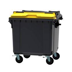 Afvalcontainer 1100 ltr split deksel - grijs/geel