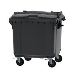 Afvalcontainer 1100 ltr split deksel - grijs