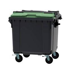 Afvalcontainer 1100 ltr split deksel - grijs/groen