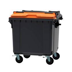 Afvalcontainer 1100 ltr split deksel - grijs/oranje