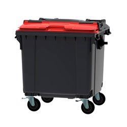 Afvalcontainer 1100 ltr split deksel - grijs/rood