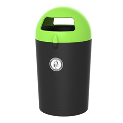 Afvalbak Metro Dome 100 ltr - zwart/groen