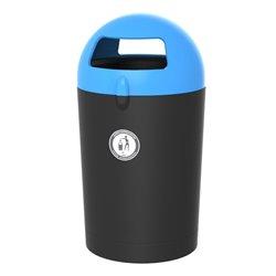 Afvalbak Metro Dome 100 ltr - zwart/blauw
