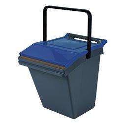 Stapelbare afvalbak Easytech 40 ltr - grijs/blauw