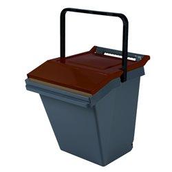 Stapelbare afvalbak Easytech 40 ltr - grijs/bruin
