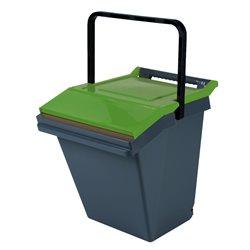 Stapelbare afvalbak Easytech 40 ltr - grijs/groen