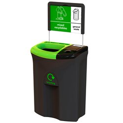 Recycling unit Meridian 110 ltr -  Double open/lift zwart -  groen -  zwart