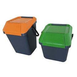 Stapelbare afvalbak Easymax 45 ltr grijs - oranje
