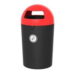 Afvalbak Metro Dome 100 ltr - zwart/rood