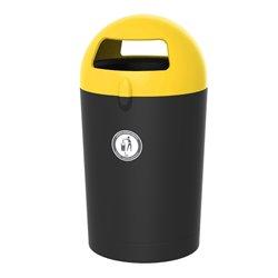 Afvalbak Metro Dome 100 ltr - zwart/geel