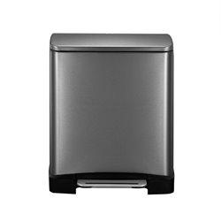 EKO E-Cube recycling pedaalemmer 28+18 ltr  - black steel