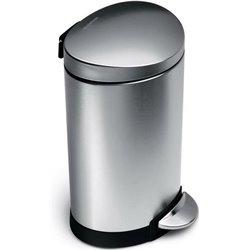 Simplehuman afvalemmer half rond 6 liter - zilver